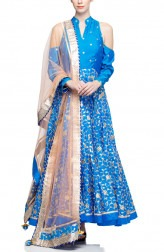 Indian Fashion Designers - Rang - Contemporary Indian Designer - Stylish Blue Anarkali - RNG-AW16-1-143