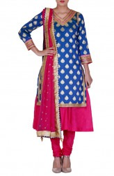 Indian Fashion Designers - Rang - Contemporary Indian Designer - Blue and Pink Anarkali - RNG-AW16-3-130