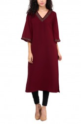 Indian Fashion Designers - Red Couture - Contemporary Indian Designer - Maroon V Neck Tunic - RC-AW16-RC16-5w21