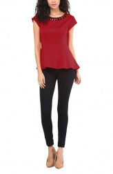 734838c10a6b4 Indian Fashion Designers - Red Couture - Contemporary Indian Designer - Red  Peplum Top - RC