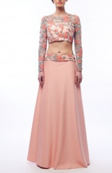 Indian Fashion Designers - Renee Label - Contemporary Indian Designer - Floral Net Skirt Set - REN-SS16-RLL10-Rose quartz