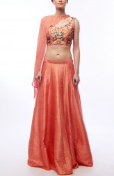 Indian Fashion Designers - Renee Label - Contemporary Indian Designer - Coral Cape Lehenga - REN-SS16-RLL9-Fire opal