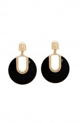 Indian Fashion Designers - Rhea - Contemporary Indian Designer - Onyx Hoop Earrings - RH-SS17-1130037