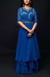 Indian Fashion Designers - SHIVAZZ by Angad Siddhu - Contemporary Indian Designer - Royal Blue Embroidered Layered Gown - SZ-AW17-003