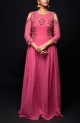Indian Fashion Designers - SHIVAZZ by Angad Siddhu - Contemporary Indian Designer - Pink Front Slits Gown - SZ-AW17-004