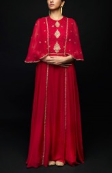 Indian Fashion Designers - SHIVAZZ by Angad Siddhu - Contemporary Indian Designer - Maroon Zardosi Embroidered Cape Gown - SZ-AW17-005