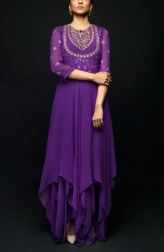 Indian Fashion Designers - SHIVAZZ by Angad Siddhu - Contemporary Indian Designer - Purple Assymetrical Gorgette Gown - SZ-AW17-006