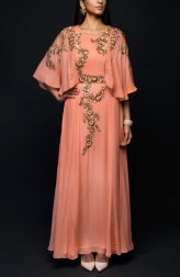 Indian Fashion Designers - SHIVAZZ by Angad Siddhu - Contemporary Indian Designer - Peach Zardosi Embroidered Cape Gown - SZ-AW17-007
