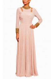 Indian Fashion Designers - Salt and Spring by Sonam Jain - Contemporary Indian Designer - Embroidered Blush Pink Gown - SAS-AW17-SU11001