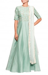 Indian Fashion Designers - Salt and Spring by Sonam Jain - Contemporary Indian Designer - Sea Green Anarkali With Dupatta - SAS-AW17-SU9001-D1005