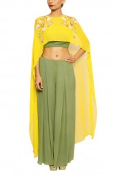 Indian Fashion Designers - Salt and Spring by Sonam Jain - Contemporary Indian Designer - Olive Green Crop Top Suit - SAS-AW17-T4001-P3002-CP1002