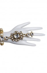 Indian Fashion Designers - Shillpa Purii - Contemporary Indian Designer - Crystal Haathphool Bracelet - SHP-SS17-HP-1