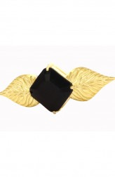 Indian Fashion Designers - Shillpa Purii - Contemporary Indian Designer - Black Double Leaf Ring - SHP-SS17-R-5