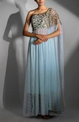 305340136d471e Indian Fashion Designers - Shruti Singla - Contemporary Indian Designer -  One Shoulder Cape Sleeve Dress