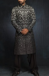 554790a0041 Indian Fashion Designers - Siddartha Tytler - Contemporary Indian Designer  - Hombre Blue Black Printed Appliqued