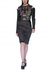 Indian Fashion Designers - Siddartha Tytler - Contemporary Indian Designer - Neoprene Velvet Lazer Cut Jacket Dress - ST-AW17-DRS-003