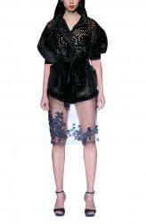 Indian Fashion Designers - Siddartha Tytler - Contemporary Indian Designer - Neoprene Kimono Jacket Set - ST-AW17-JCKT-009-SKRT-001