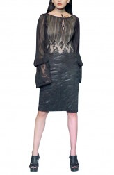 Indian Fashion Designers - Siddartha Tytler - Contemporary Indian Designer - Black Laced Top Set - ST-AW17-TP-002-SKRT-003