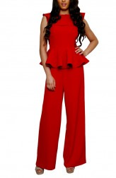 Indian Fashion Designers - Swatee Singh - Contemporary Indian Designer - Crimson Ruffled Jumpsuit - SWS-AW16-SS-FW-JS-06