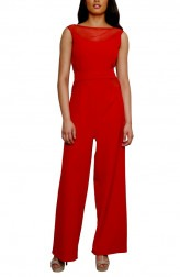 Indian Fashion Designers - Swatee Singh - Contemporary Indian Designer - Crimson Boat Sheer Neck Jumpsuit - SWS-AW16-SS-FW-JS-09