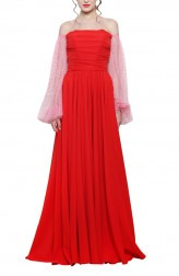 Indian Fashion Designers - Swatee Singh - Contemporary Indian Designer - Red Corsetted Gown - SWS-AW17-3923