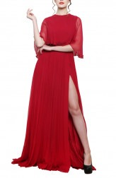 Indian Fashion Designers - Swatee Singh - Contemporary Indian Designer - Red Boat Neck Cape Gown - SWS-AW17-3934