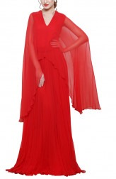 Indian Fashion Designers - Swatee Singh - Contemporary Indian Designer - V Neck Asymetric Cape Gown - SWS-AW17-3953
