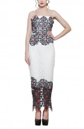 Indian Fashion Designers - Swatee Singh - Contemporary Indian Designer - Tube Laced Dress - SWS-AW17-3965