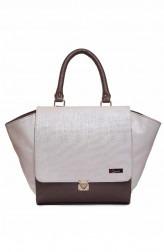 Indian Fashion Designers - Syuuta - Contemporary Indian Designer - White Brown Miami Wings Hangbag - SYK-AW16-SY031