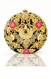 Indian Fashion Designers - Tresclassy - Contemporary Indian Designer - Black Circular Floral Gotta and Motif Work Clutch - TC-SS17-TC1529