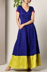 Indian Fashion Designers - True Browns - Contemporary Indian Designer - Blue Panelled Border Dress - TBS-SS17-TB1296