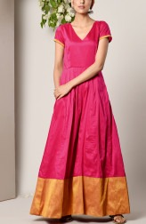 Indian Fashion Designers - True Browns - Contemporary Indian Designer - Pink Panelled Border Dress - TBS-SS17-TB1297