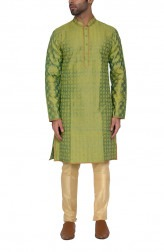 Indian Fashion Designers - WYCI - Contemporary Indian Designer - Green Embroidered Kurta - WYCI-SS16-S6KRs45D