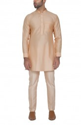 Indian Fashion Designers - WYCI - Contemporary Indian Designer - Light Peach Kurta - WYCI-SS16-S6KSs73