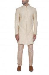 Indian Fashion Designers - WYCI - Contemporary Indian Designer - Cream Embroidered Sherwani - WYCI-SS16-S6SRs001