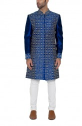 Indian Fashion Designers - WYCI - Contemporary Indian Designer - Blue Embroidered Sherwani - WYCI-SS16-S6SRs38Fc