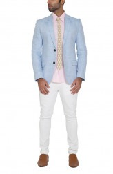 Indian Fashion Designers - WYCI - Contemporary Indian Designer - Blue Linen Jacket - WYCI-SS16-W6JLn40