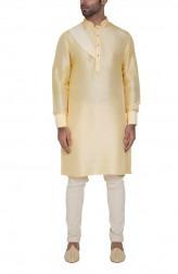 Indian Fashion Designers - WYCI - Contemporary Indian Designer - Yellow Formal Kurta - WYCI-SS16-W6KDs45Dr