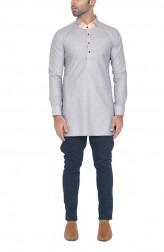 Indian Fashion Designers - WYCI - Contemporary Indian Designer - Light Grey Formal Kurta - WYCI-SS16-W6KEc168T