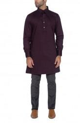 Indian Fashion Designers - WYCI - Contemporary Indian Designer - Deep Purple Kurta - WYCI-SS16-W6KSg30Bt