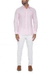 Indian Fashion Designers - WYCI - Contemporary Indian Designer - Pink Appliqued Placket Shirt - WYCI-SS16-W6StEc161Hx