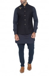 Indian Fashion Designers - WYCI - Contemporary Indian Designer - Dark Navy Waistcoat - WYCI-SS16-W6WcWf31