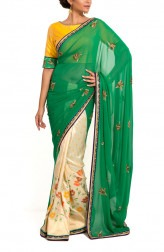 Indian Fashion Designers - Zainah By Pooja Khokha Arora - Contemporary Indian Designer - Embroidered Half Saree with Banarsi Silk Pleats - ZIA-SS17-VE01