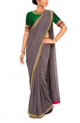 Indian Fashion Designers - Zainah By Pooja Khokha Arora - Contemporary Indian Designer - Smoke Grey Hand Embroidered Saree - ZIA-SS17-VE02