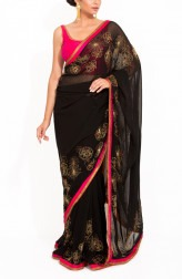 Indian Fashion Designers - Zainah By Pooja Khokha Arora - Contemporary Indian Designer - Stunning Black Hand Embroidered Saree - ZIA-SS17-VE03