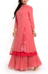 Indian Fashion Designers - Zainah By Pooja Khokha Arora - Contemporary Indian Designer - Coral Pink Layered Sharara - ZIA-SS17-VE11b