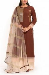 Indian Fashion Designers - Zainah By Pooja Khokha Arora - Contemporary Indian Designer - Cinnamon Brown Long Kurta - ZIA-SS17-VE16