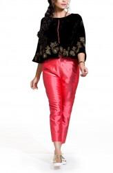 Indian Fashion Designers - Zainah By Pooja Khokha Arora - Contemporary Indian Designer - Velvet Black Ponchoo Top Set - ZIA-SS17-VE19