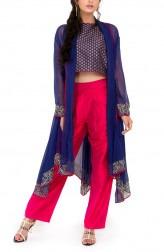 Indian Fashion Designers - Zainah By Pooja Khokha Arora - Contemporary Indian Designer - Navy Blue Crop Top Set - ZIA-SS17-VE20