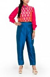 Indian Fashion Designers - Zainah By Pooja Khokha Arora - Contemporary Indian Designer - Fuschia Silk Crop Top Set - ZIA-SS17-VE21